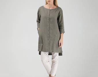 Pure Linen Tunic Shirt with Side Slits in Khaki Green Linen