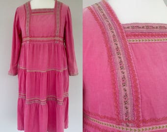 Vintage 70s Pink Dress, Maternity Dress, Corduroy Dress, Tent Dress, Festival, Hippie, Boho, Kitsch, Size 14