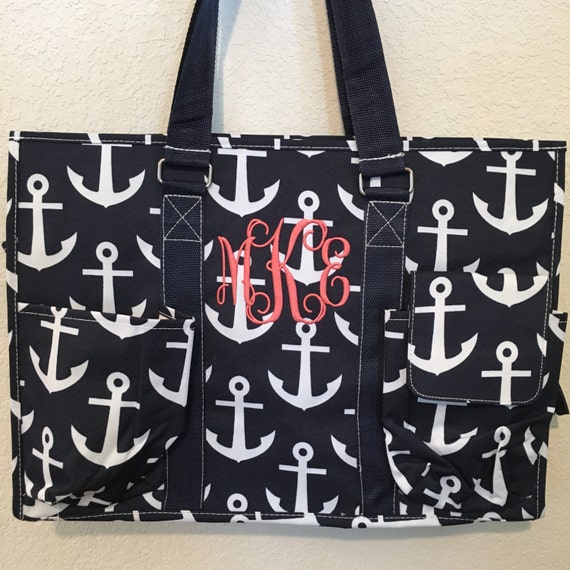 Monogrammed Tote Bag, Anchor Tote Bag, Navy Anchor Tote, Anchor Beach Bag, Bridesmaid Gifts, Weddings, Overnight Bag, Monogrammed Gift