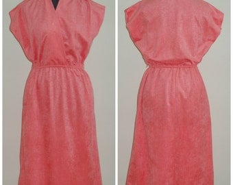 Vintage 1970's JOYCE PALMER Pink Coral Sleeveless Knee Length Faux Suede Dress Size 15 / 16