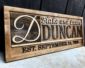 Personalized Wedding Gift Personalized Family Name Sign Wedding Established Sign Personalized Wooden Sign Couples Gift Idea Custom Wood Sign