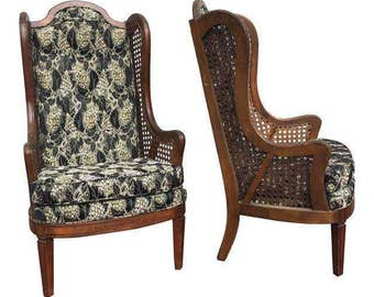 Lewittes Wingback Cane Upholstered Chairs - A Pair | Hollywood Regency | Mid-Century | Vintage | Cane | Chinoiserie | High Back | Seating