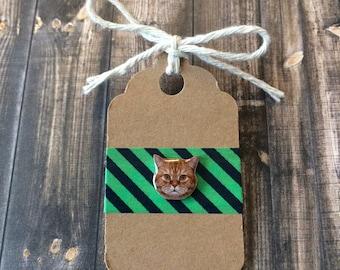 Tiny Orange Cat Head Lapel Pin / Tie Tack - Acrylic - Funny Cat
