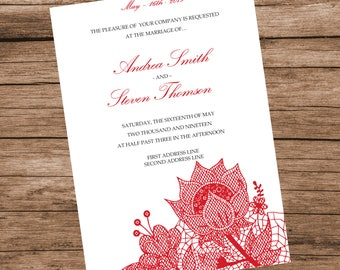 Printable Red Floral Lace Wedding Invitation Template, Lace Flowers, INSTANT DOWNLOAD, Editable Text & Colors, 5x7