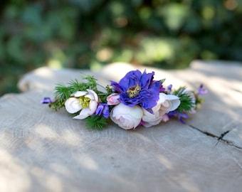 Violet quarter wreath with needles Peony Wedding quarter wreath  Hair accessories Wedding hair accessories