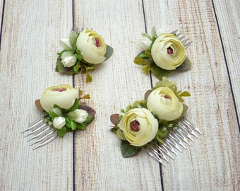 Wedding hair comb Bridal flower comb Ivory hair piece Wedding flower comb Ivory headpiece Rustic hair comb Floral hair comb Flower comb