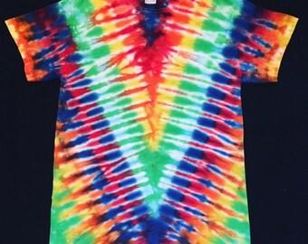 Super Rainbow Tie Dye Symmetrical V Pattern