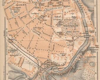 1910 Gorlitz Germany Antique Map