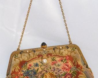 Antique Petit Point Purse TAPESTRY Handbag Needlepoint Floral Pattern Austrian Reticule Faux Jeweled Frame Mid Century Art Deco Fashion
