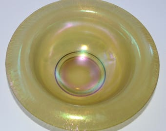 Antique Tiffin Art Glass Bowl Iridescent Gold Stretch Glass Bowl Rolled Rim American Art Glass Art Deco Period Decor