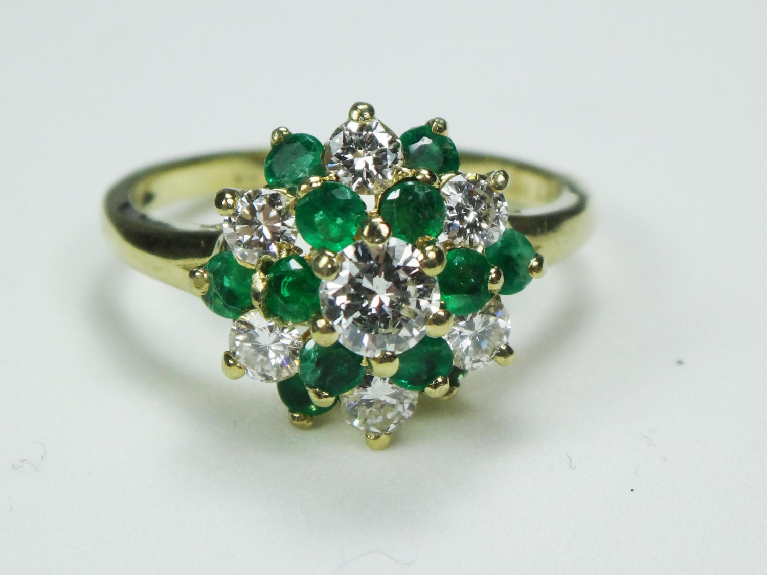 ring emerald ring genuine emerald ring cluster