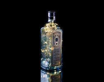 Up-cycled Bombay Sapphire Bottle Lamp