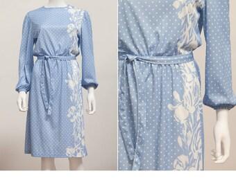 1970's Floral Dress • 70s Blue White Polka Dot Day Dress • 70s Modest Dress