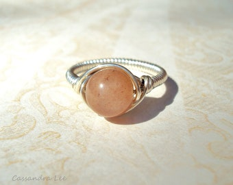 Gemstone Ring, Sunstone Ring, Silver Ring, Gemstone Jewelry, Wire Wrap Jewelry, Handmade Jewellery, Silver Jewelry, Sparkly Ring, Stone Ring