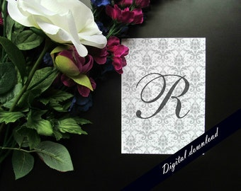 "Gray Damask Initial Monogram Printable - 5x7"" or 8x10"" Shabby Chic Cursive Elegant Initial Digital Download"