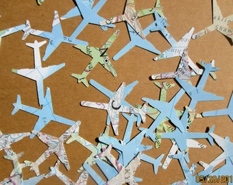 1000-Airplane Confetti-baby shower decorations boy-large plane confetti-Travel Theme-bridal shower decorations-World Atlas planes-small