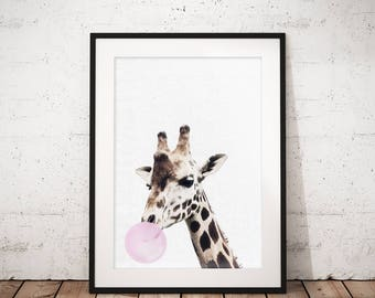 Giraffe print, Nursery animal print, Safari nursery, Printable poster, Kids room poster, Instant download, Giraffe photo, Bubblegum animal