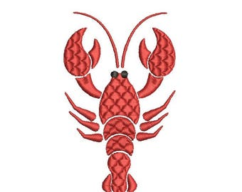 Crawfish Crayfish Fancy Fill Embroidery Design in 3 Sizes - INSTANT DOWNLOAD