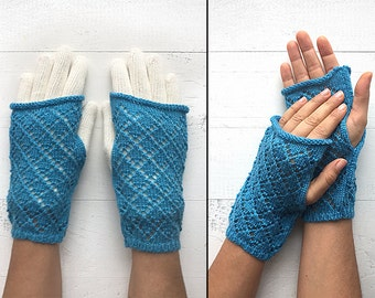 EXPRESS Shipping, Double Layered Gloves, Fingerless Gloves, Two Layer Gloves, Special Gift, Gift For Her, Blue Gloves, White Gloves, Mitten