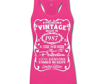 30th Birthday Gift Ideas for Her - Unique ***Bamboo*** Tank Top - Made in 1987 Shirt Gift with ***Velvety Print*** design