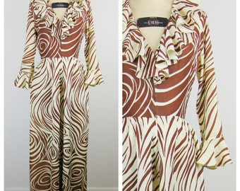 Vintage 1970s Jumpsuit / 70s Swirly Ruffled Wide Leg Jumpsuit / Small
