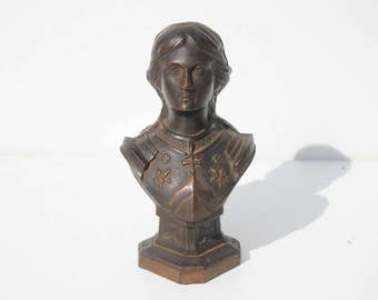 Antique French Iron Joan of Arc Statue ,bust ,home decor,Jeanne D'Arc