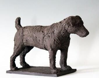 Ceramic Terrier Dog Sculpture