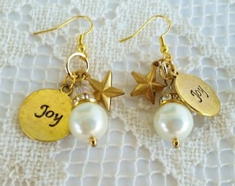 Holiday Earrings, Dangle Earrings, Gold Plated Christmas Jewelry, Pearl Beads, Joy Charm, Star Charm, Holiday Jewelry, Sparkly Festive Gift