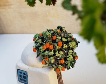 Miniature Architecture,  Ceramic Sculpture,  Dome Roof House, Orenge tree, old oriental home, A house with a tree, white and blue miniature