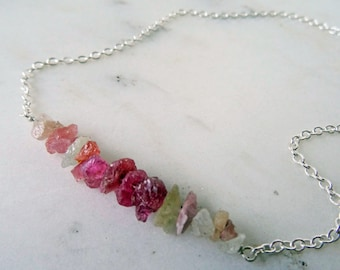 Raw Sapphire necklace - pink - Sapphire necklace - layering necklace - rough Sapphire birthstone - Sapphire gemstone - multi stone necklace