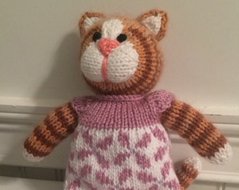 "Knitted Stuffed ""Caitlyn"" The Cat"