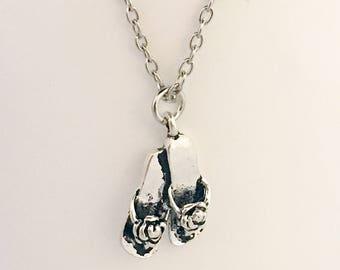 Sandal necklace, sandal pendant necklace, flip flop pendant necklace, flip flop necklace, beach necklace, beach pendant, necklace beach