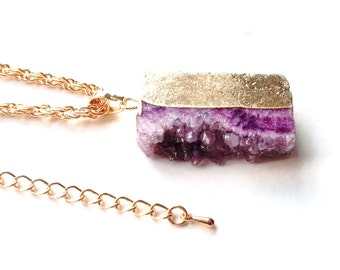 Gold coloured druzy gemstone pendant necklace - long length - 29.5 inch with extender chain - jewellery - gift - present - hers - ladies