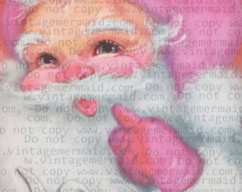 PINK CHRISTMAS CARD Pink Santa Pink Fabric Block Santa Card pcs20.