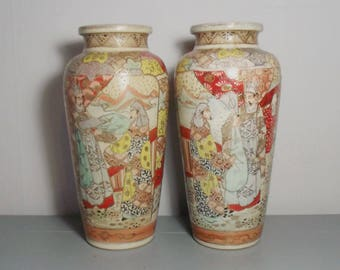 Early 20th Century Japanese Satsuma Vase Pair/Japanese Vase/Oriental Vase/Japanese Decor/Japanese Interior/Japanese Porcelain/Oriental Decor