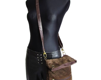 Vintage Brown Suede Leather Shoulder Bag Crossbody Bag Chocolate Brown Suede Purse
