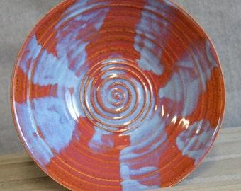Beautiful carved stoneware bowl, wheel-thrown, handmade pottery