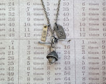 "Pewter Acorn and Wrapped Metal Necklace with ""lol"" and ""No 5"" Metal Tag Charms on 31"" Chain. Industrial Chic, Found Objects, Laugh Out Loud"