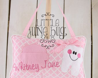 Pink Tooth Fairy Pillow, Lace Tooth Fairy Pillow, Girly Pink Tooth Fairy Pillow, Little Girl Personalized Tooth Fairy Pillow