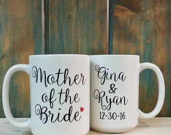 Mother of the bride, Mother of the groom, bridal party mug, coffee mug, gift idea, personalized mug, wedding party coffee mugs