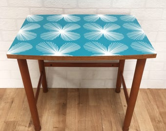 Upcycled Retro Vintage Mid Century Modern Blue Atomic Starburst Teak Side Table