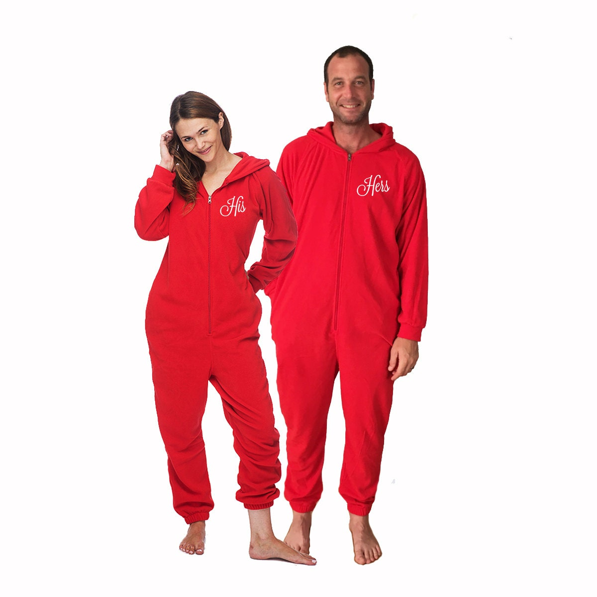 His and Hers Valentine's Day Onesies for adults set of 2