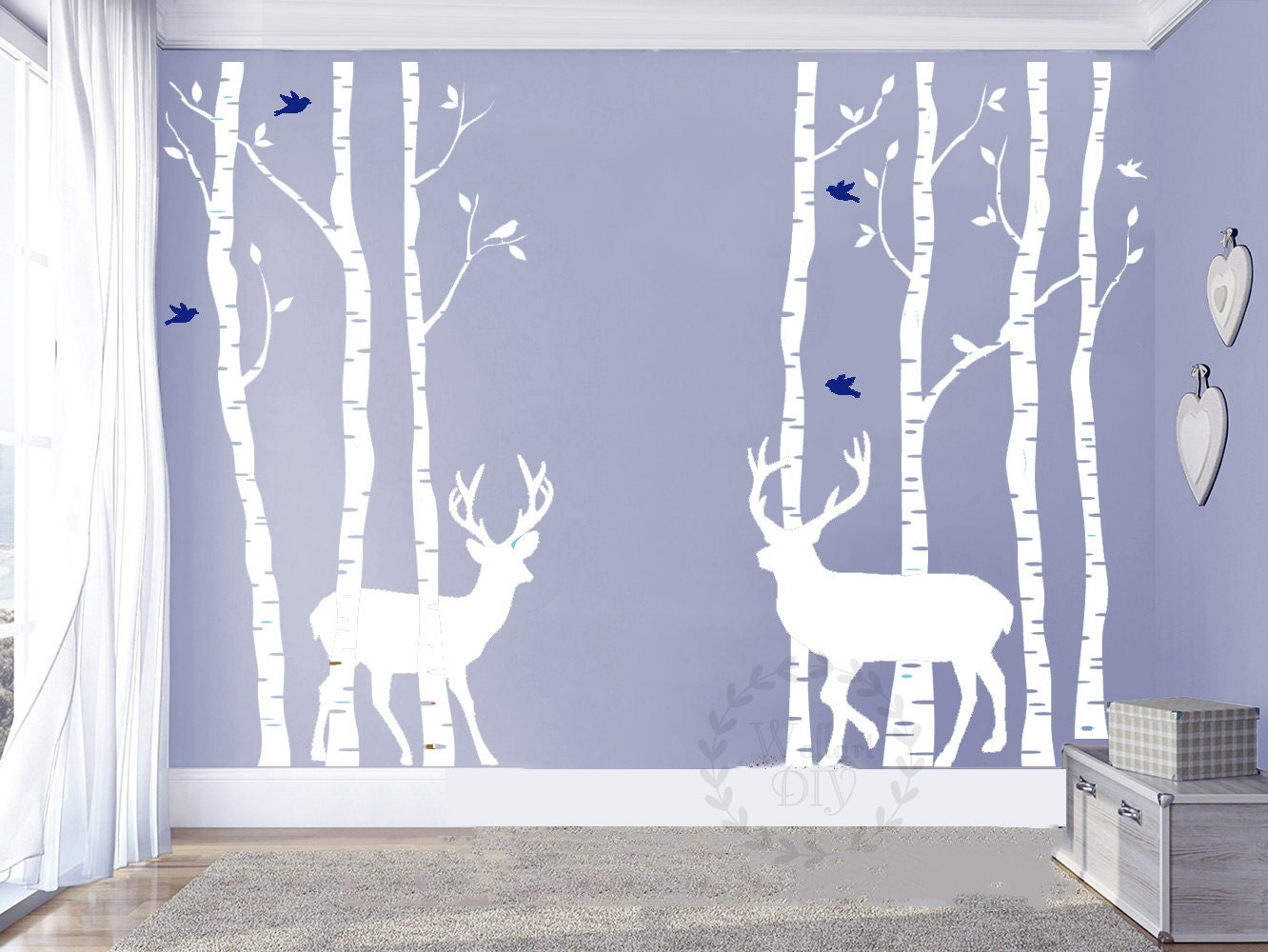 Birch tree wall decals birch forest and deer wall murals giant zoom amipublicfo Choice Image
