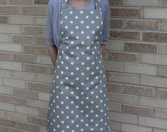 Gray and White Polka Dot Apron