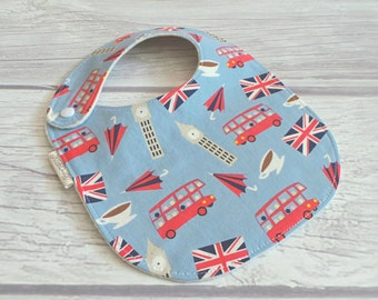 Union Jack Baby Bib / Side Snap Baby Bib / Drool Bib / Organic Cotton Fleece / Londoner / British Baby / London Calling