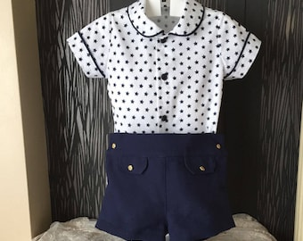 baby boy 2 piece outfit  navy shorts white shirt , toddler pants blue white shirt , kids spring summer suits, childrens spanish handmade set