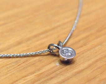 0.1ct.Diamond Necklace,Diamond By the Yard,Dainty diamond Necklace,Minimalist women's Solid gold necklace,White Yellow Rose Gold Necklace