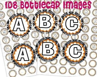 Alphabet bottle cap images ABCs Instant Download Digital Scrapbooking collage sheet Crafts Demask floral Jewelry 1 inch circle