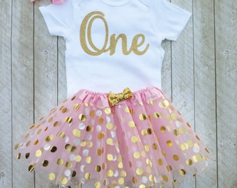 Pink and gold first birthday outfit Pink and gold tutu One year old outfit Pink and gold 1st birthday outfit Baby girl first birthday outfit