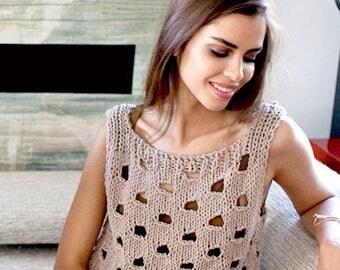 Summer tops Crochet tank top knit tank womens tank top cotton top sleeveless tank crochet blouse knit blouse loose knit tank summer knitwear
